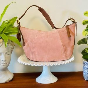 RARE COACH BLUSH FORTUNE COOKIE SUEDE LEATHER BAG